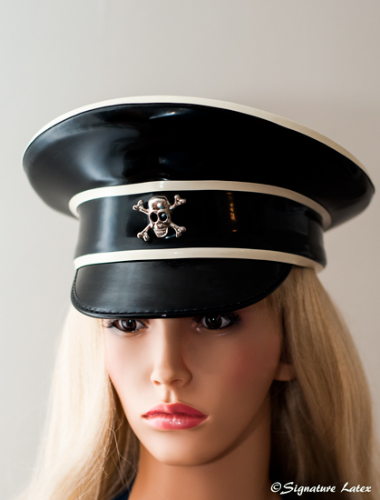 Latex Military peaked cap Fully trimmed hat With or without Badge